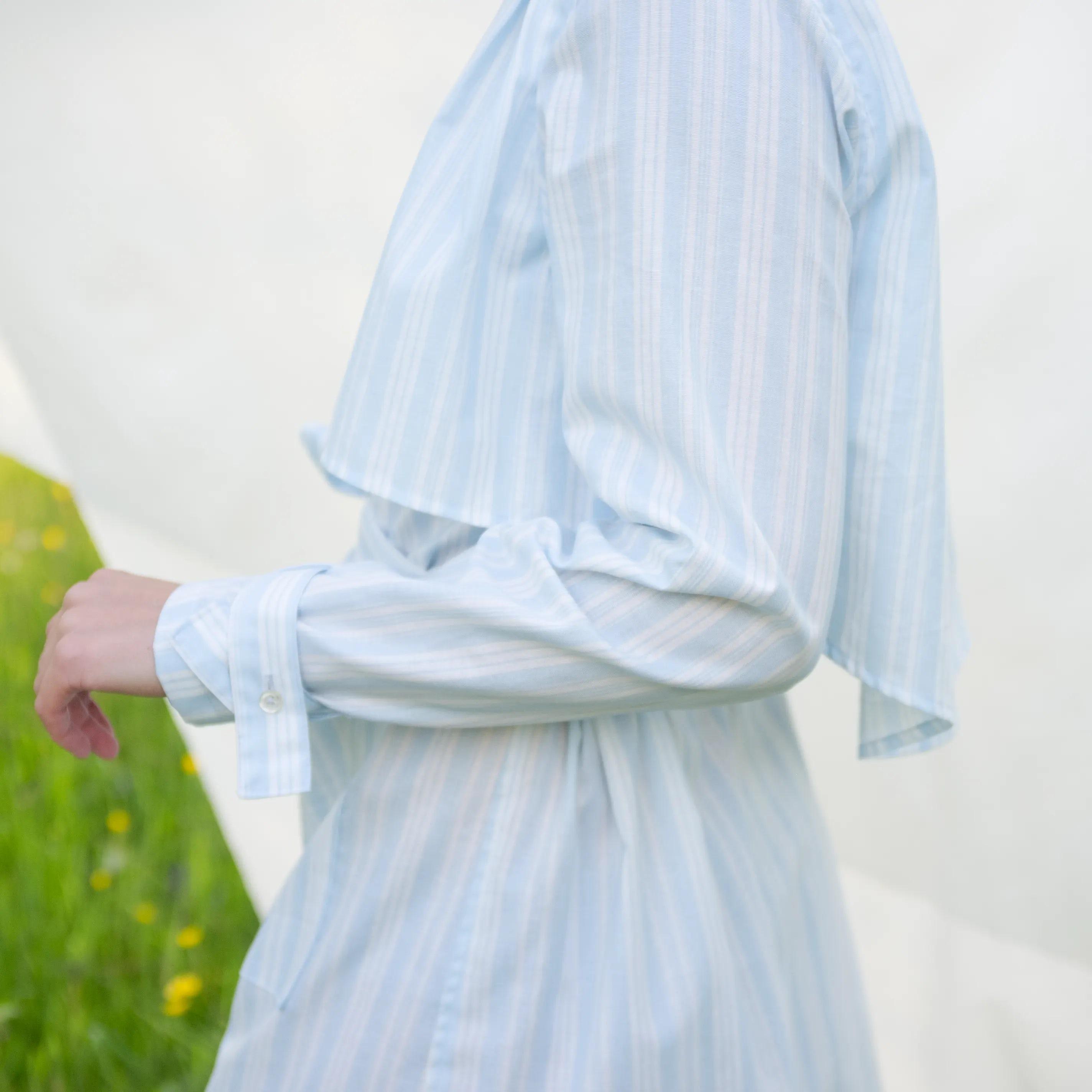 Baumwolle - Batist - Streifen himmelblau